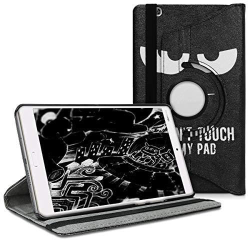 kwmobile Cover Compatibile con Huawei MediaPad M3 8.4 - Custodia Cover per Tablet Rotazione 360° Stand Similpelle - Don t Touch My Pad Bianco Nero