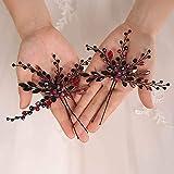 weichuang Bohe - Juego de accesorios para el pelo de color negro y pendientes de cristal para la cabeza de novia, joyería de boda para mujer (color: dos horquillas)