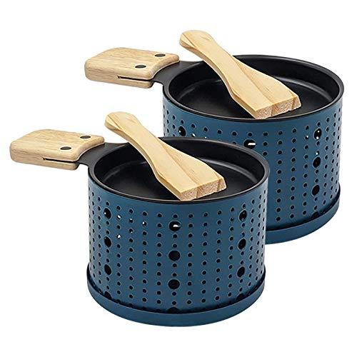 Raclette à la Bougie, Poêlons Bougie Four Lent Fromage Pain Grill,Fournitures de Cuisine de Pique-Nique, Faite Fondre Votre Fromage Rapidement, Spatule Bois inclues (2 Pack, Bleu)