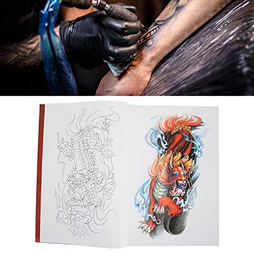 Ensemble de modèles de tatouage, pochoirs de tatouages, ensemble de modèles de tatouage réutilisable, 56 pages Koi Kylin motif Shader tatouage livre tatouage pratique modèle livre accessoire