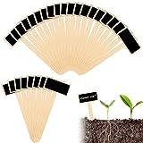 40 Piezas Etiquetas de Marcadores de Plantas, Etiquetas de Plantas de Bambú en Forma de T, Etiquetas de Plantas en Madera Para Flores de Vivero Vegetales Semillas de Hierbas