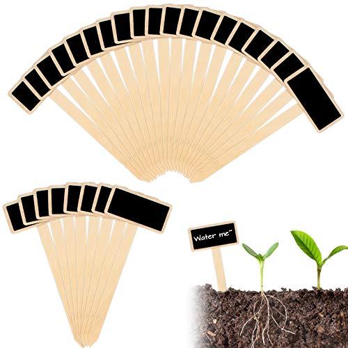 40 Pezzi Marcatori per Piante Etichette,Etichette da Giardino Legno,Etichette per Piante di Bambù Forma a T. Segni di Piante in Legno per Fiori di Vivaio Ortaggi Semi di Erbe in Vaso