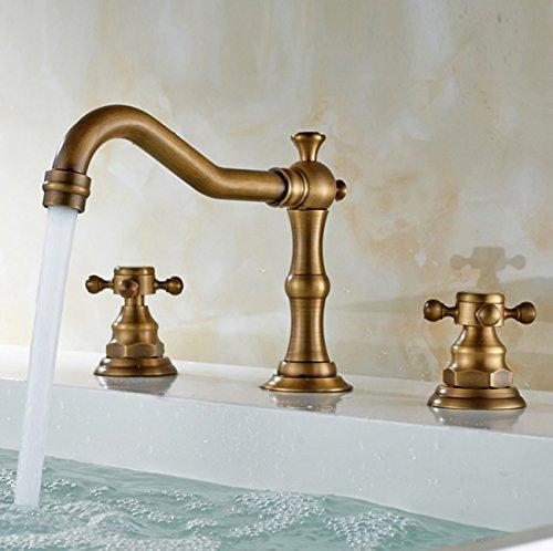 Yjmgrowing Accessori per Bagno Rubinetto per lavabo da Bagno in Ottone Anticato, Due Maniglie per rubinetteria a Tre Fori, Accessori Hardware Uso familiare