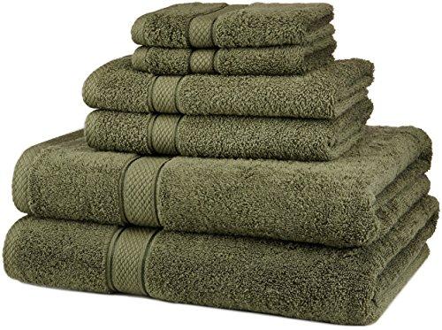 Juego de Toallas de algodón Egipcio de Pinzon, de 725 g, 100% algodón Felpa algodón, Verde Musgo, 6-Piece