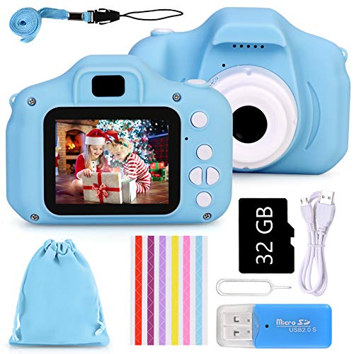 Faburo Set de Cámara de Fotos Digital Infantil con Tarjeta de Memoria Micro SD 32GB, 1080P, Azul