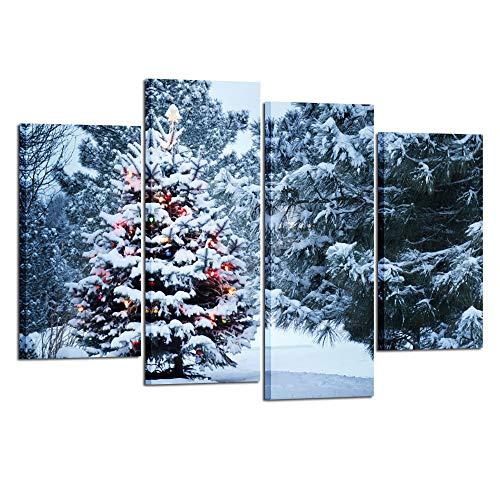 Kreative Arts 4 Pieces Christmas Tree Canvas Print Snowy Winter Forest Pine Trees Scene Pictures Wall Art Giclee Artwork Gallery Wrapped Ready to Hang for Bedroom Walls Gift Idea L47xH32inch