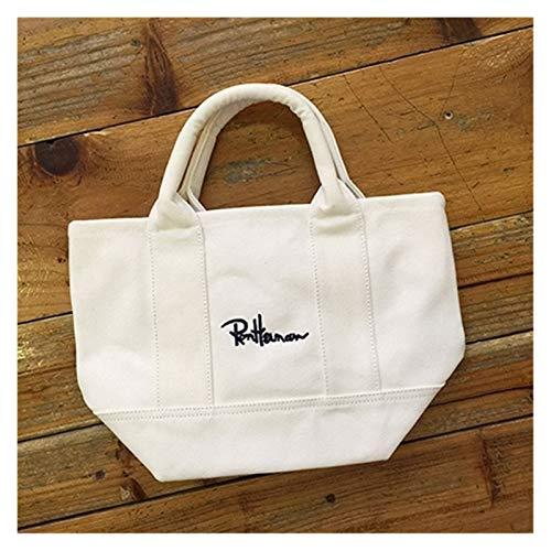 Mizuho Nuevo Bolso de Lienzo Handbag Joker contrató una Bolsa de Almacenamiento de Autos de la Bolsa de Mano de los Estudiantes de un Hombro (Color Name : White)