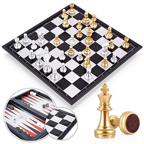 Peradix 3 in 1 Schachspiel Magnetisch Dame Spiel Backgammon, 32x32 cm Einklappbar Schachbrett Schach mit Aufbewahrungsbeutel Deluxe Schachbrett für Familie Geschenk Reise (Gold-Silber, 3-in-1)