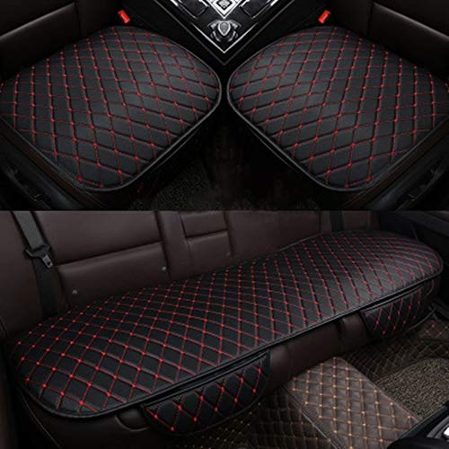 FH Group FB209102BLACK Universal Fit Ultra Car Seat Cushions with Colorful Stitching Front Set Black
