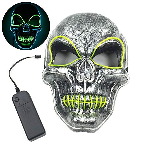 H-EJOYDUTY Scary Skeleton Skull Light Up Mask, DIY Creepy