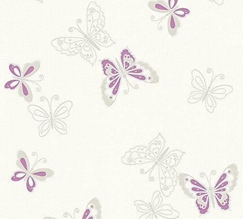 A.S. Création Vliestapete mit Glitter Happy Spring Tapete mit Schmetterlingen 10,05 m x 0,53 m beige metallic lila Made in Germany 347651 34765-1