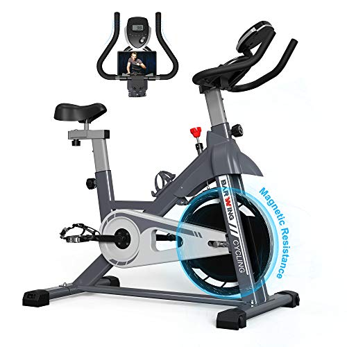 BARWING Magnetic Indoor Cycling Bike Exercise Bike Stationary Workout Bike with Professional Handlebar for Home Use Gray