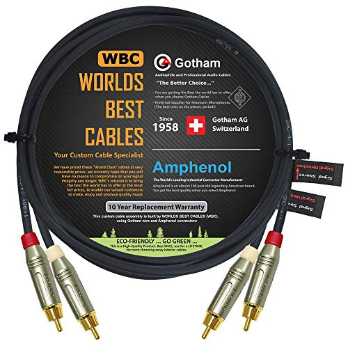 3 Foot RCA Cable Pair - Gotham GAC-4/1 (Black) Star-Quad Audio Interconnect Cable with Amphenol ACPR Die-Cast, Gold Plated RCA Connectors - Directional