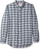 Marca Amazon - Goodthreads: camisa de franela de manga larga y ajuste estándar para hombre, Azul (grey navy...