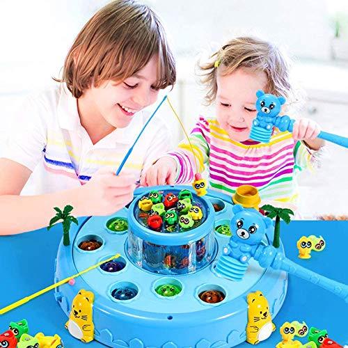 Shhjjyp Juegos De Mesa De Pesca Musical con Caña De Pescar Juegos De Mesa Educativos Juguetes para Niños Niñas 3 4 5 6 Años Whack A Mole Juego