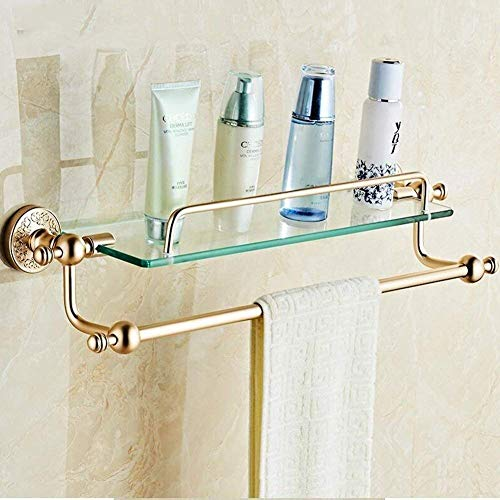 Badkamerrekplank, wandmontage aluminium + glazen badkamerplanken met handdoekbeugel, enkellaags gouden badkameropslagplanken, cosmetisch opbergrek, eenvoudig schoon te maken, 60x14.5x22.5cm