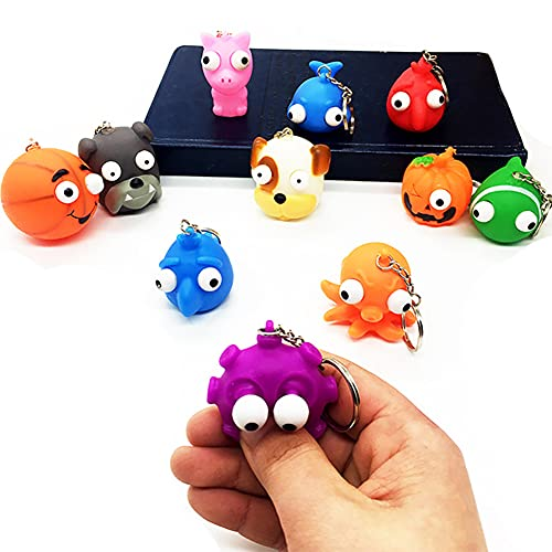 8pcs Raised Popping Eyes Keychains, Stress Relief Animal Keychain Squeeze Ball Toys for Party Favors, Game Prizes