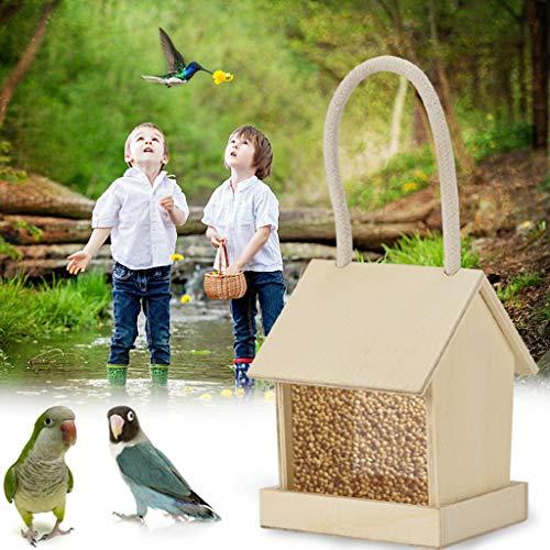 Rameng Mangeoire pour Oiseaux Exterieur en Bois Décoration à Suspendre Mangeoires à Graines Mangeoire Sauvage pour Jardin (A)