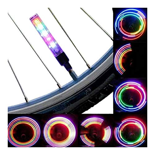 XSRJ Bicycle Wheel LED Lights Mountain 5LED Colorful Road Bike Waterproof Spokes Flashlight with Battery Tyre Tire Valve Caps Wheel
