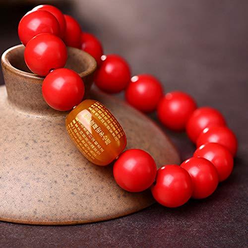 Feng Shui Riqueza Piedras Preciosas Pulsera Natural cinabrio Rojo ágata corazón Sutra Pulsera Brazalete el Amuleto atrae el Dinero Suerte Ward Off Evil Spirits,12MM