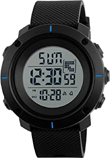 SKMEI Sports Watches Black Rubber Band Day and Date Display Waterproof Digital Watch Model 1213