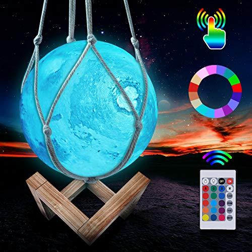 Mond Lampe, LED 3D Wiederaufladbares Mars Lampe, 16 Farben Dimmbare Nachtlicht Lampe Fernbedienung und Touch Steuerung, mit Holzständer und hängendem Netz (15 cm)