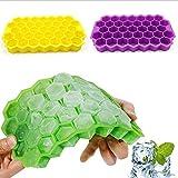 AHURGND 4 pezzi a nido d'ape di forme di ghiaccio vassoio di cubetti, vassoi di cubetti di ghiaccio con coperchio in silicone cubetti di ghiaccio stampi 37 cubi a cubetti versato impilabile, caramelle