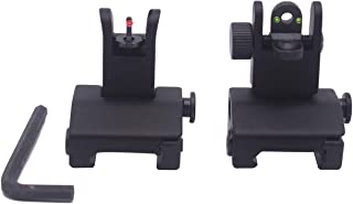 AWOTAC Iron Sights Fiber Optics Flip Up Rapid Transition Front and Rear Sights with Red and Green Dots Fit Picatinny Weaver Rails
