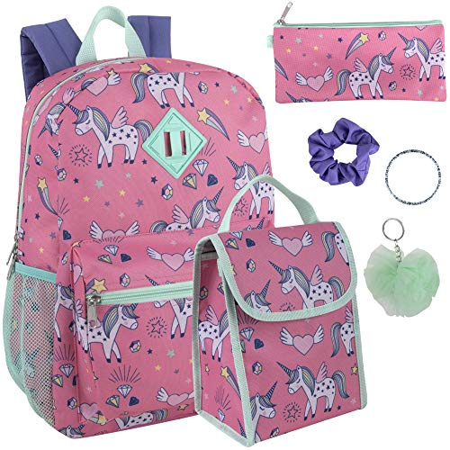 Girl's 6 in 1 Backpack Set With Lunch Bag, Pencil Case, Keychain, and Accessories (Unicorn dreams)
