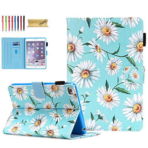 Dteck iPad Mini 5 Case/iPad Mini 4 Case/iPad Mini 3 2 1 Cases and Covers - Slim Folio Flip Stand Wallet Case Auto Wake/Sleep Magnet Smart Cover for Mini iPad 7.9 Inch Tablet, Daisy
