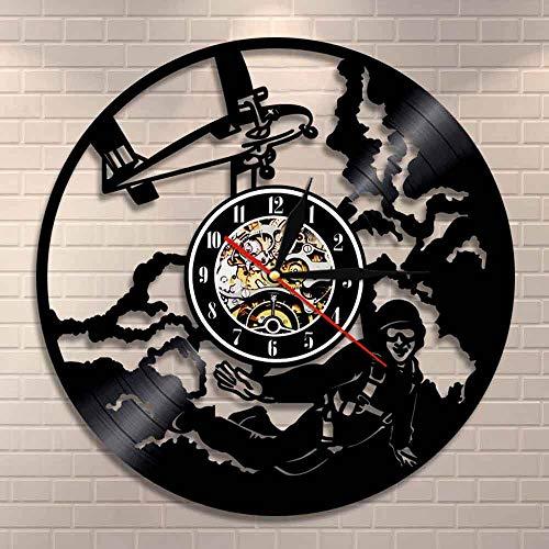 Regalos para Hombres Sky Dive Jumping Wall Art Reloj de Pared Decoración de Pared para el hogar Reloj de Disco de Vinilo Paracaídas Paracaidismo Reloj de Pared Paracaidismo Paracaidista Regalo