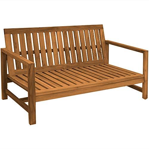 Teako Design Outdoor Sofa Udine 3-Sitzer Teak unbehandeltes Massivholz Breite 180 cm Wetterfest Couch Gartensofa