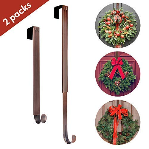 Wreath Hanger, Adjustable Length from 15 to 25 Inches Wreath Hanger for Front Door Heavy Duty with 20LB Upgrade Wreath Hook Holder for Christmas Decorations by AnCintre (Bronze-2 Pack)