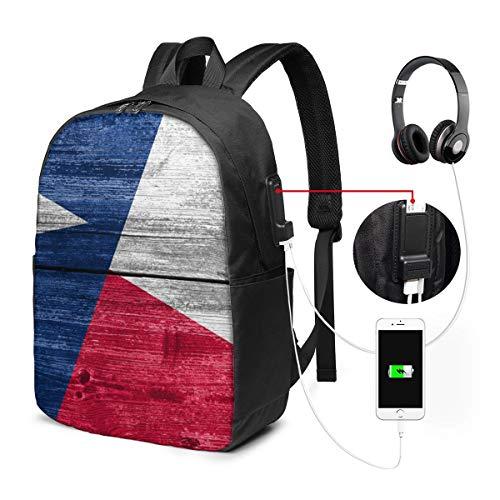 Langlebiger Anti-Diebstahl-Laptop-Rucksack Reiserucksäcke Büchertasche mit USB-Ladeanschluss für Frauen und Männer Schüler College-Laptop-Rucksack, Texas State Flag auf alte Holzplanke gemalt