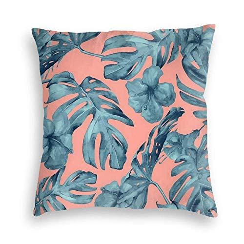 Naturaleza Persönlichkeit Familie Pflanzen Blumen Tahiti Grün und Rosa Koralle Dekorative Kissen für Sofa Bett Wohnzimmer Kissenbezug Sofa Kissenbezug