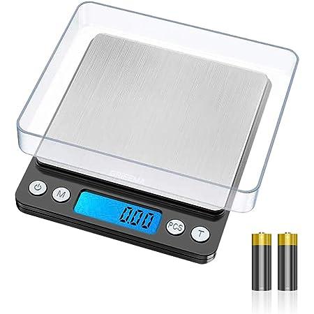 GRIFEMA GA2003 Balance Numérique de Précision, Balance Cuisine, écran LCD rétro-éclairé, Balance électronique en acier inoxydable, 6 unités de pesée, Fonction épluchage, 0,01g-500g