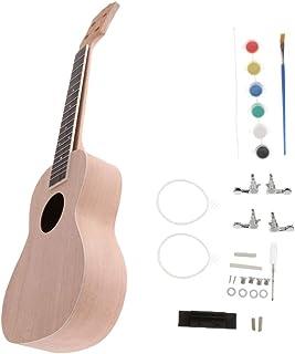 FLAMEER Kit de Montaje Juguete Basswood Ukulele 23 Pulgadas Uke DIY Grabación Procesado Informático - Beige