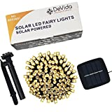 Solar String Lights Warm White, Ambiance Lighting, 100 LED Strands for RV, Camping, Christmas, Garden, Wedding, Outdoor Waterproof Adjustable Auto Sensor With Accessories (100 Warm White)