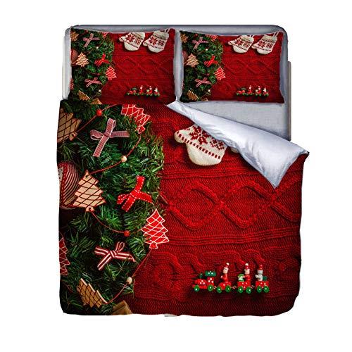 HRX Set di biancheria da letto con stampa natalizia digitale 3D, in 100% microfibra, include copripiumino e federa per il cuscino (adatto a adulti e bambini)