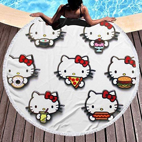 Hello Kitty Toalla de Playa Redonda de Gran tamaño Ultra Absorbente de Agua Manta de Microfibra Suave Toalla de Playa Estera de Yoga Decoración del hogar Estera de Picnic Cubierta de Cama Tapiz Manta