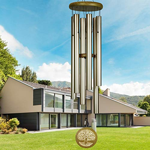 Noble House Wind Chimes in Big Deep Tone, 40' Large Memorial Wind Chimes with Engraved Tree of Life,Sympathy Wind Chimes for Loss of a Loved One,Outdoor for Your Garden,Yard,Patio (Wash Green, 41)