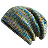 VOASTEK Slouchy Beanies for Women Winter,Double Layer with Cashmere Warm Soft Knit Beanie for Men Blue/Green