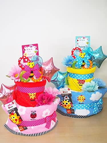"""話題の出産祝いギフト☆3段おむつケーキ!SASSy""""POP CANDY""""  大人気のベビーブランド「サッシー」の歯固め&フェイスタオル&ミニタオル&チャームバンド付き♪ さらにスターバルーンが2つ+アートフラワー×1 (ピンク, Sサイズ)"""