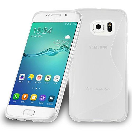 Preisvergleich Produktbild Cadorabo Hülle für Samsung Galaxy S6 Edge Plus - Hülle in HALB TRANSPARENT Handyhülle aus flexiblem TPU Silikon im S-Line Design - Silikonhülle Schutzhülle Soft Back Cover Case Bumper
