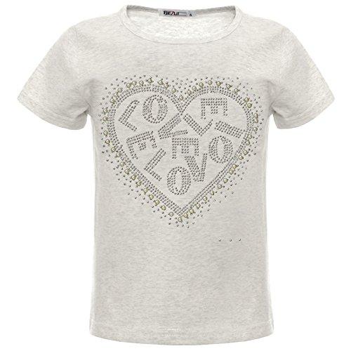 BEZLIT Mädchen Kinder Glitzer T-Shirt Oberteil Herz Kunst-Perlen 22540 Grau 140