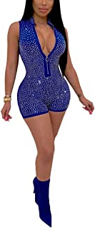 Womens Sexy Sequins 2 Piece Outfits Zipper Front Crop Top Sleeveless Bodycon Short Jumpsuit Club Romper
