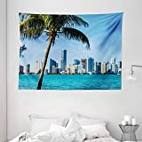 Ambesonne Coastal Tapestry, Miami Downtown Biscayne Bay Buildings and Palm Tree Panoramic Art, Wide Wall Hanging for Bedroom Living Room Dorm, 80' X 60', Sky Blue