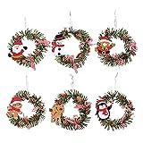 6 unids Navidad corona de ratán coronas, decoraciones de la puerta Colgante decorativo para la ventana de la ventana del árbol Festival de vacaciones, colgantes, guirnaldas, adornos Home Shop Hall