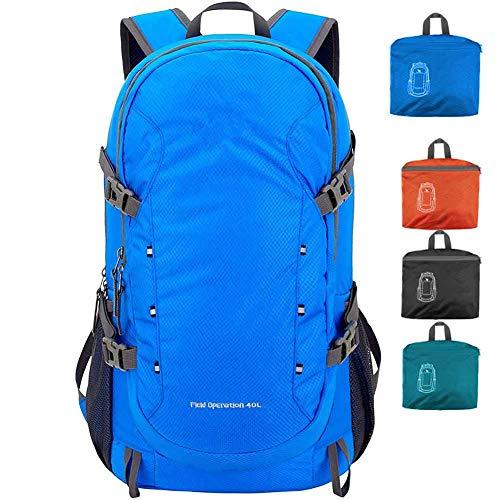 Moho - Zaino Sportivo da 40 l, Leggero, Pieghevole, Durevole, Resistente all'Acqua, per Viaggi, Escursioni, Campeggio, attività all'aperto, per Donne e Uomini, Packable Hiking Backpack, Blue