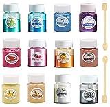 LUCPICT Epoxidharz Farbe, 12er×10g Pigmentpulver Seifenfarbe Set, Metallic Mica Pulver für...